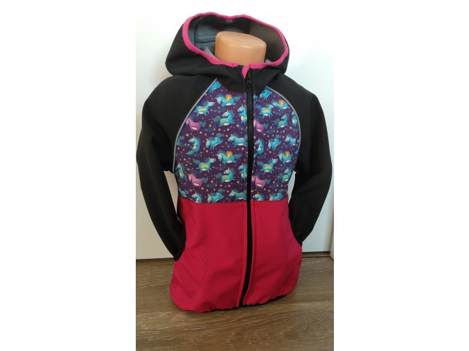 Softshellová bunda – černá – růžová – jednorožec