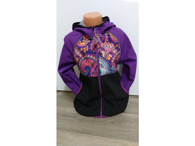 Softshellová bunda - černá - fialová - orient