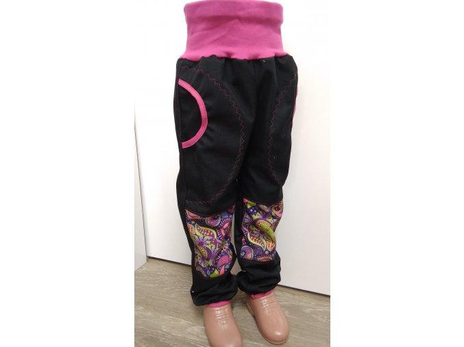 Softshelové kalhoty - černá - barevný orient