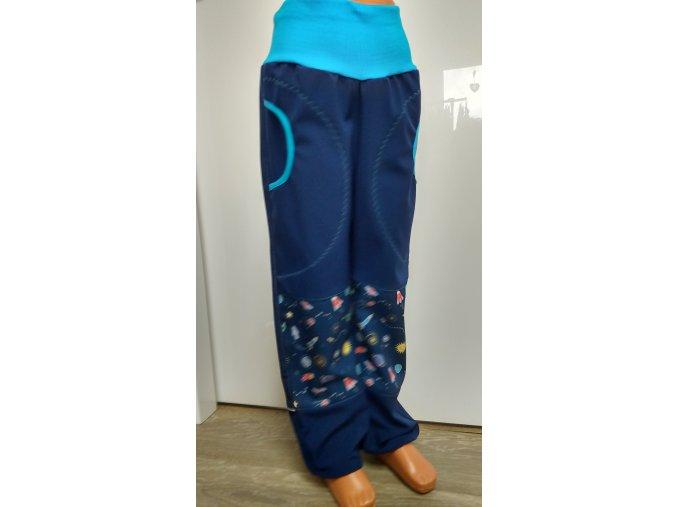 Softshelové kalhoty - tmavě modré - vesmír