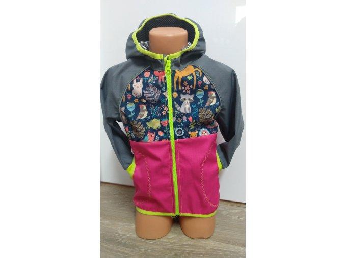 Softshellová bunda – růžová – šedá – zvířátka