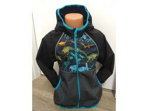 Softshellová bunda – černá – dinosaurus