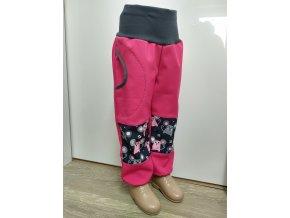 Softshelové kalhoty - růžová - myšky