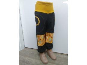 Softshelové kalhoty - černá - lesní zvířátka