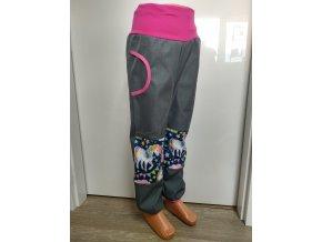 Softshelové kalhoty - šedé - jednorožci