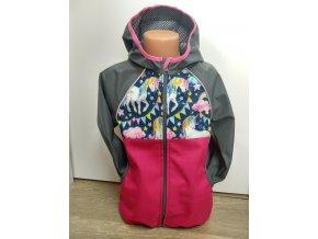 Softshellová bunda – růžová – šedá – jednorožci