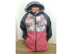 Softshellová bunda – černá – růžová – kočičky