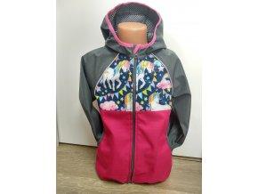 Softshellová bunda – růžová – šedá – jedorožec