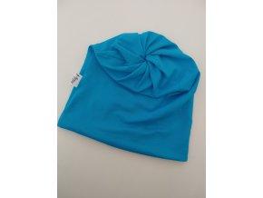 čepice s dírou- barva tyrkys