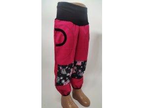 Softshelové kalhoty - růžové - myšky