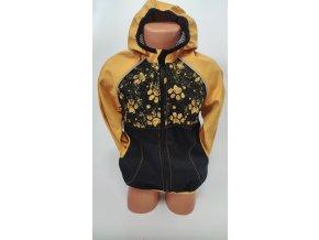 Softshellová bunda - černá - hořčicová- ťapky