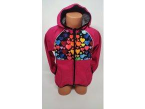 Softshellová bunda – růžová – srdíčka