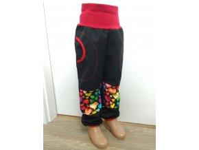 Softshelové kalhoty - černá - srdíčka