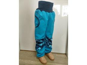 Softshelové kalhoty - tyrkys - dinosaurus