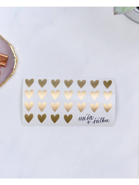 Samolepky vinylové - Matná zlatá srdíčka