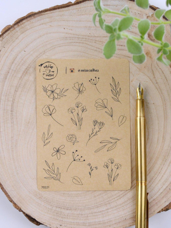 Samolepky craft - Line Art květiny