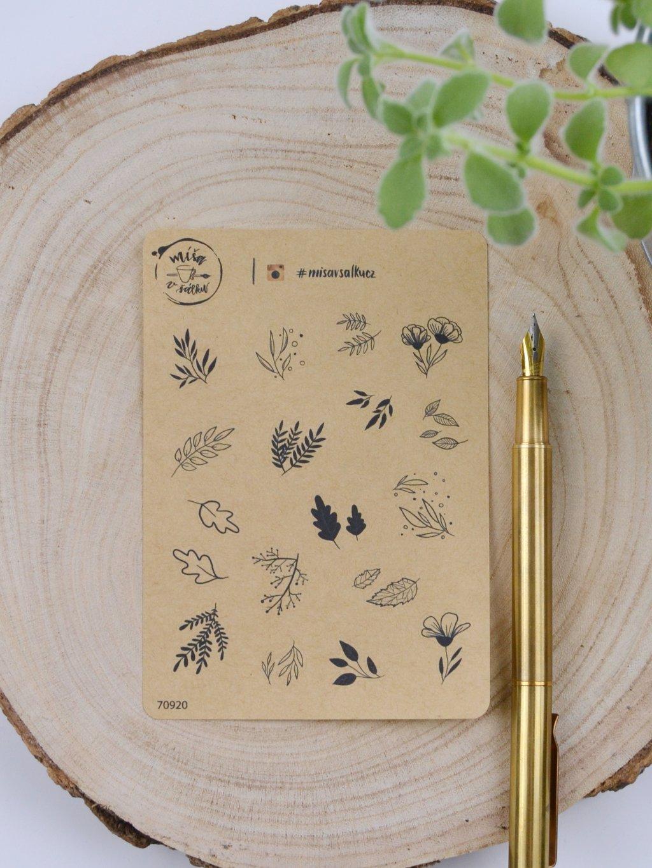 Samolepky craft - Lístky a kytičky