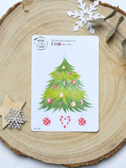 Samolepky vánoční | Stromeček současných Vánoc