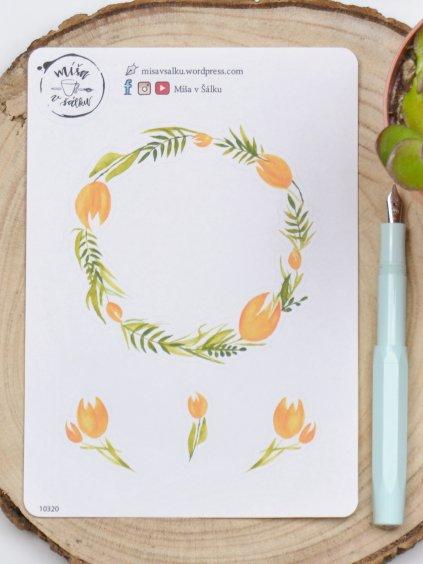 Samolepky věneček | Žluté tulipány