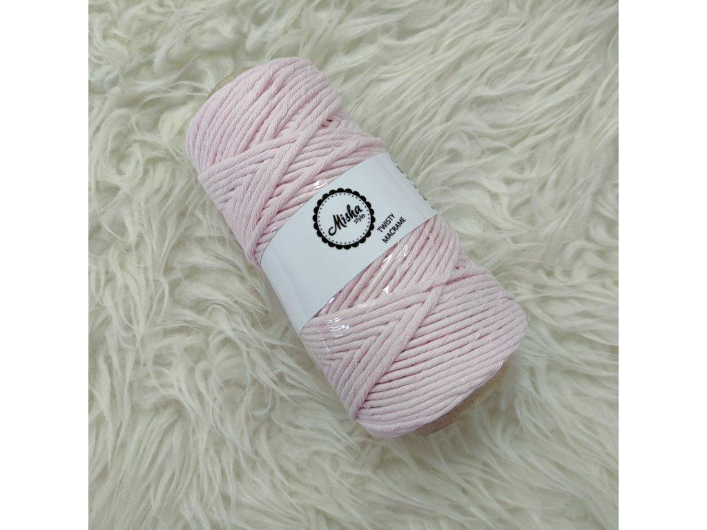 Twisty macramé 3mm 424 pastelově růžová