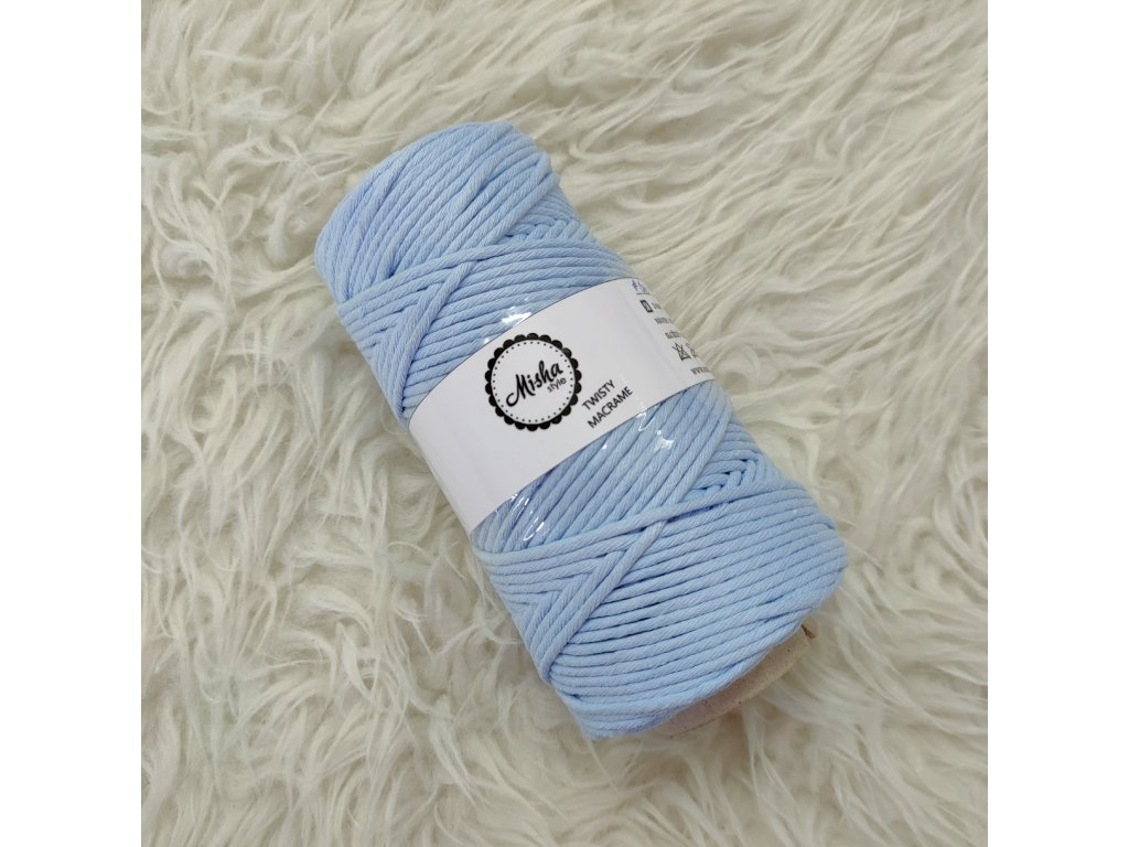 Twisty macramé 3mm 310 pastelově modrá