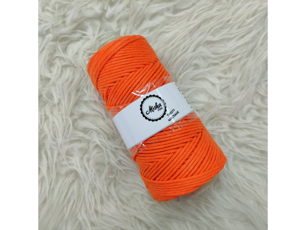 Twisty macramé 5mm 450 oranžová