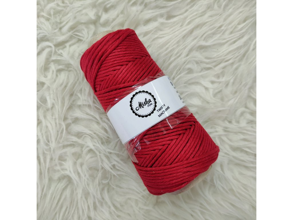Twisty macramé 5mm 473 tmavě červená