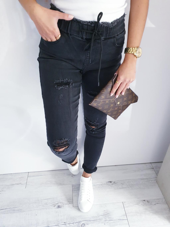 Džíny s gumou v pase černá
