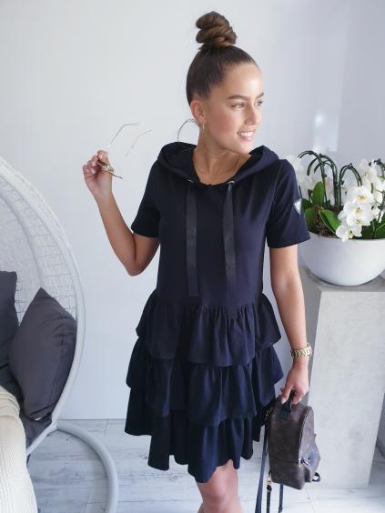 Teplákové šaty VALESA s krátkým rukávem černá