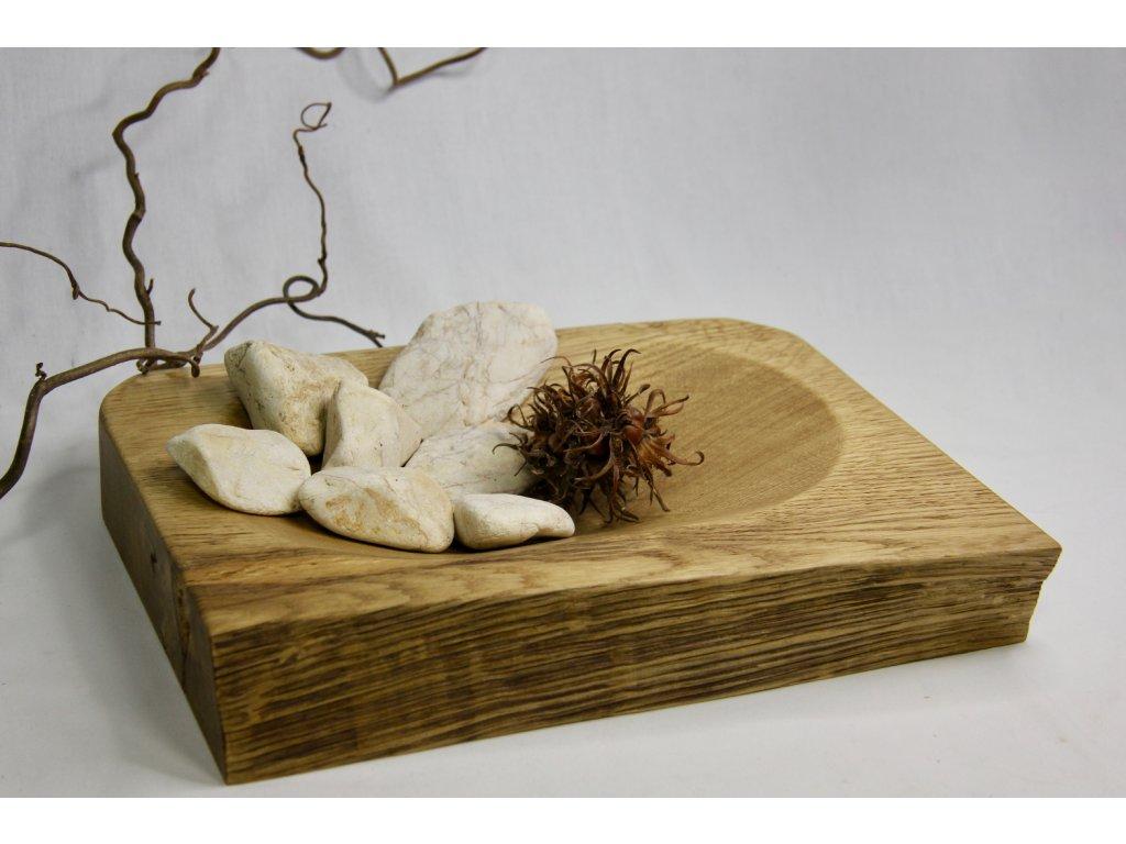 Rustikální dubová mísa 23 x 29 cm