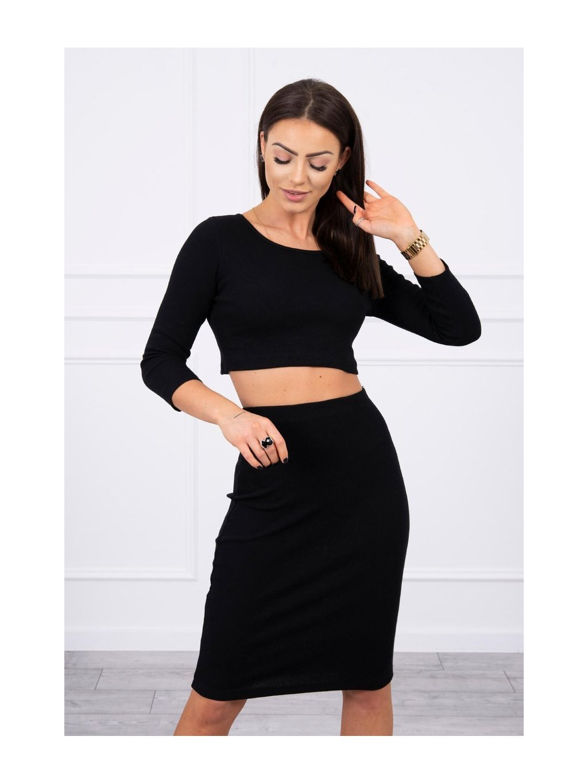 Set crop topu a sukně, černá