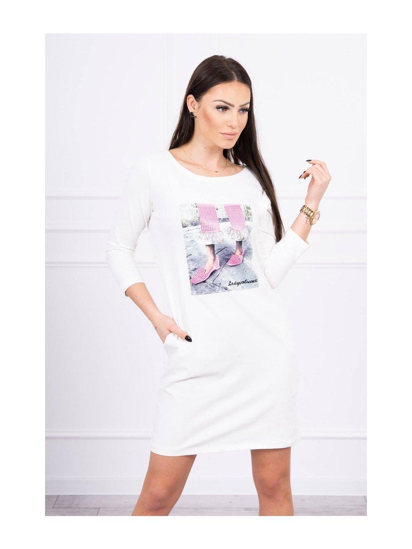 Šaty s 3D grafikou krajky, krémová