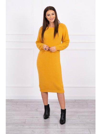 Svetrové šaty, hořčicová