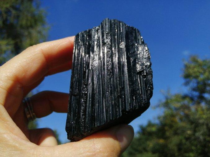 Černý turmalín - Skoryl, přírodní surový / Brazílie