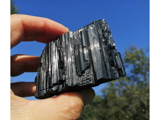 Černý turmalín - Skoryl, přírodní surový kámen / Brazílie