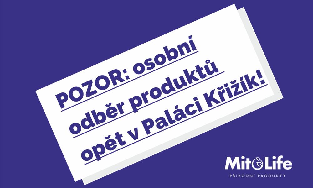 Aktualita: Osobní odběr produktů opět probíhá na recepci v Paláci Křižík (Radlická 608/2, 150 00 Praha 5)