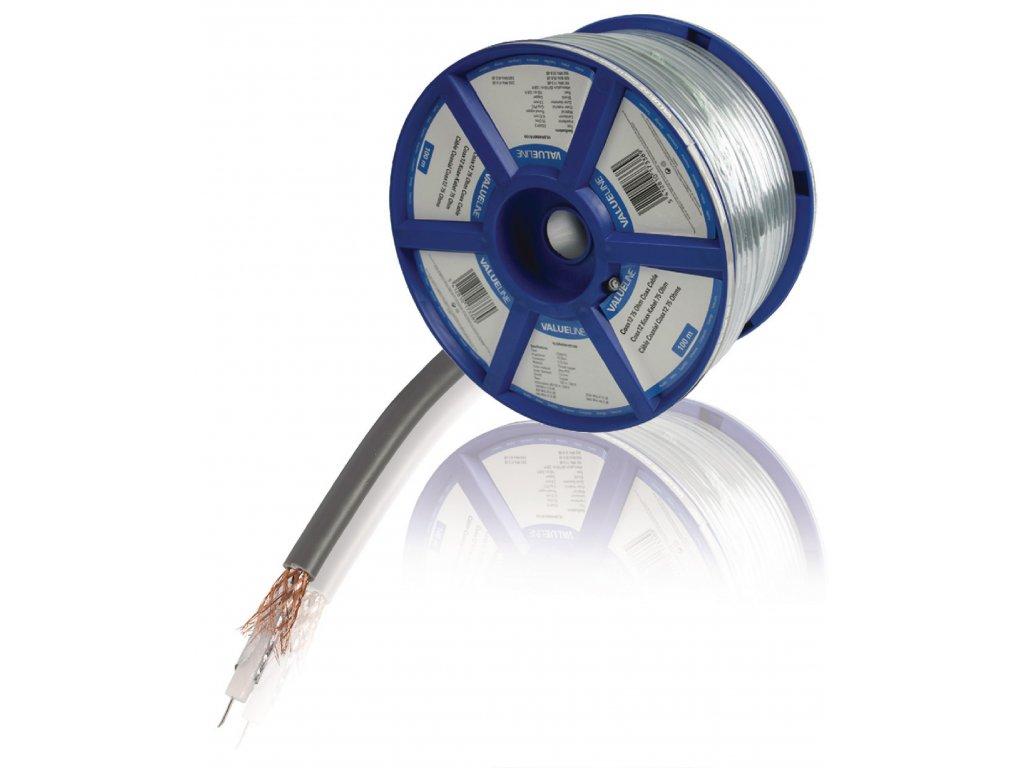 Měděný koaxiální kabel COAX12 7.0 mm, 100 m , Valueline VLSR40901R100