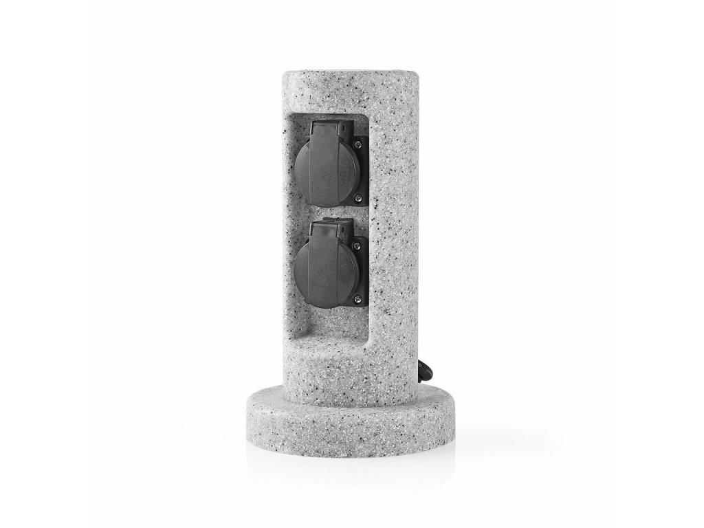Nedis EXGS61 zásuvkový sloupek, 2 x schuko, 16 A, venkovní IP44, šedá imitace kamene