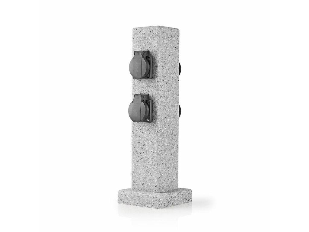Nedis EXGS62 zásuvkový sloupek, 4 x schuko, 16 A, venkovní IP44, šedá imitace kamene