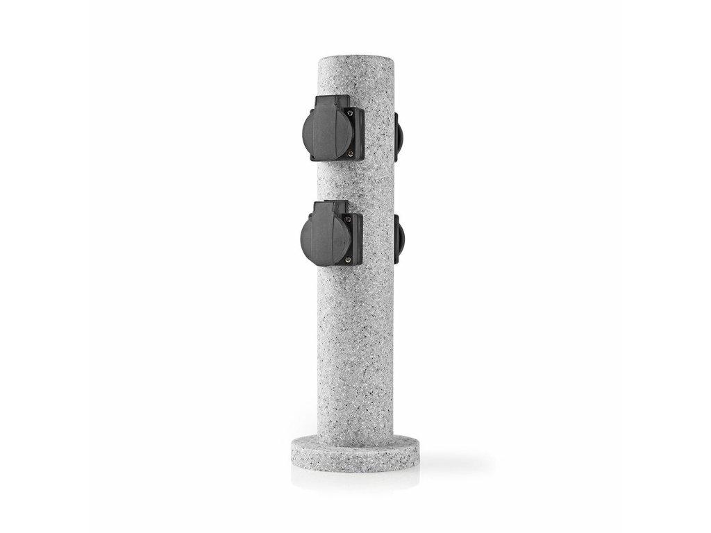 Nedis EXGS63 zásuvkový sloupek, 4 x schuko, 16 A, venkovní IP44, šedá imitace kamene
