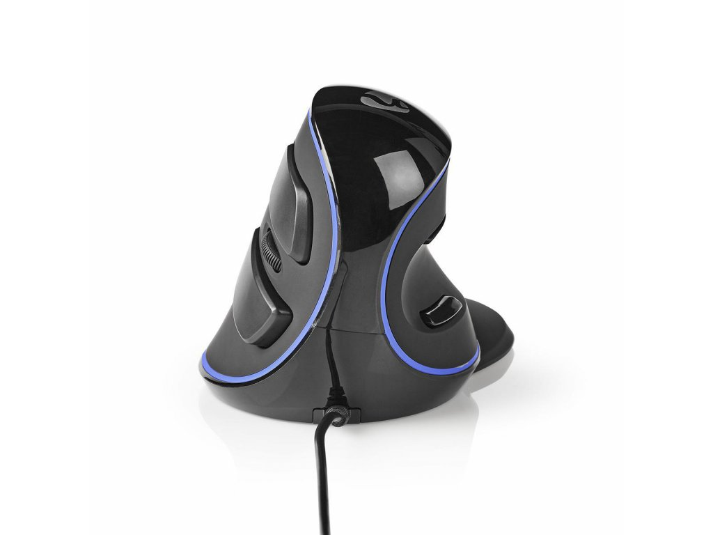 Nedis ERGOMSWD200BK ergonomická drátová myš, 1600 dpi, 6 tlačítek, černá
