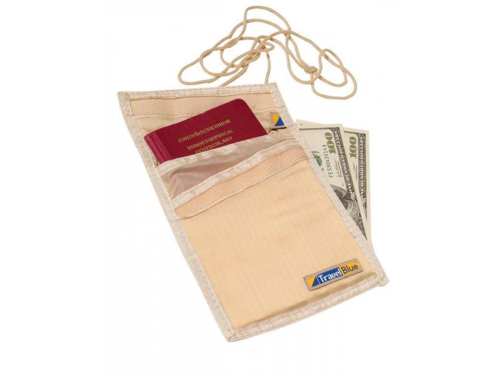 Bezpečnostní pouzdro/peněženka na krk TBU121 béžové