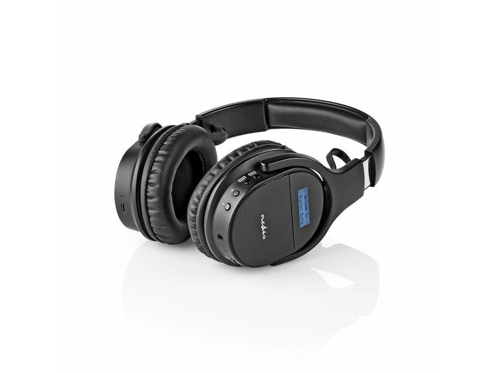 Nedis HPDB200BK bluetooth bezdrátová sluchátka s rádiem DAB+ / FM