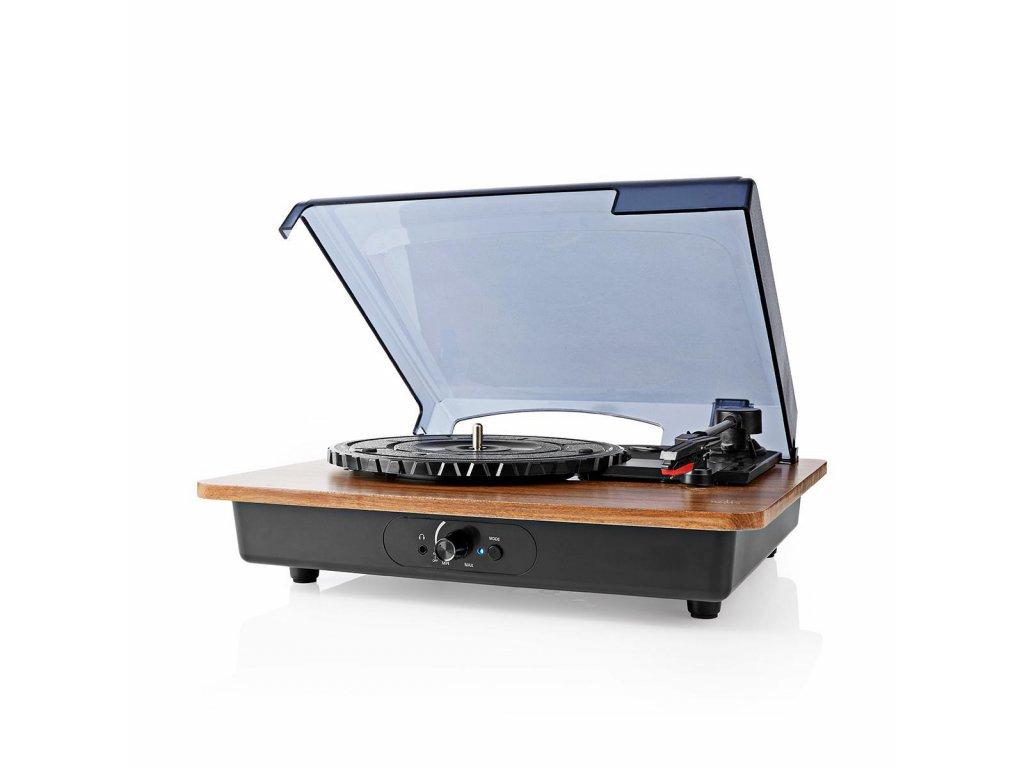 Nedis TURN200BN gramofon 9 W, Bluetooth®, automatické vypnutí, akumulátor, hnědá