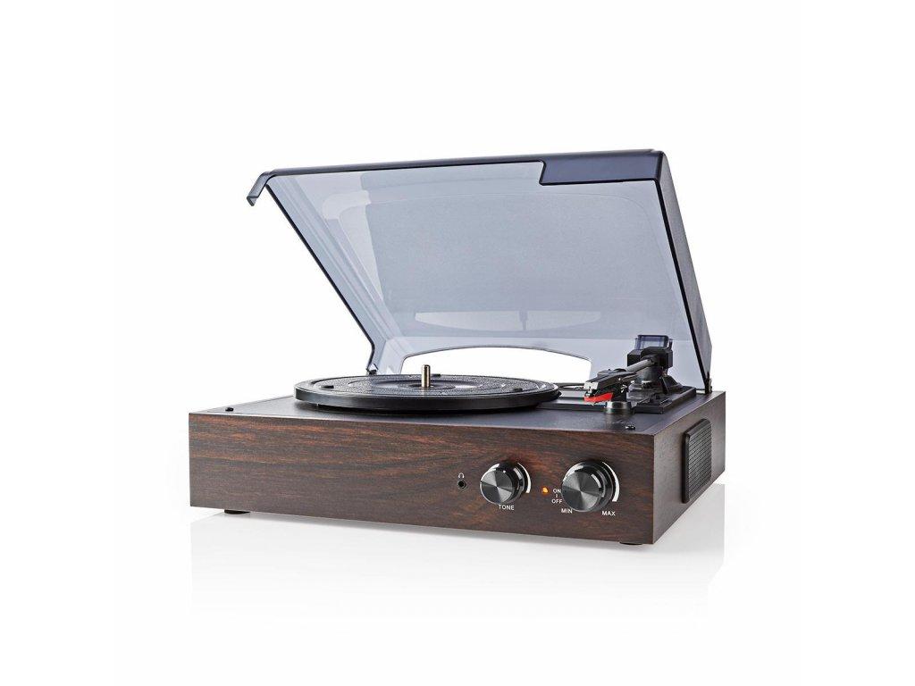 Nedis TURN220BN gramofon 18 W, USB, automatické vypnutí, hnědá
