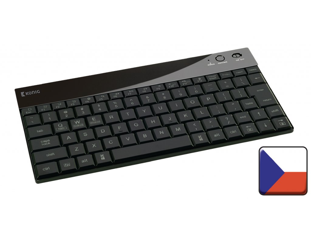 Bluetooth podsvícená klávesnice česká, Windows, Android, iOS, König CSKBBT300CZ