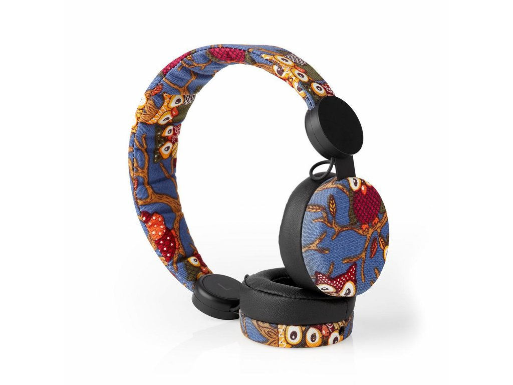 Nedis® N-imal uzavřená sluchátka s kabelem 1.2m, látkový povrch s dekorem sovy (HPWD4101BK)