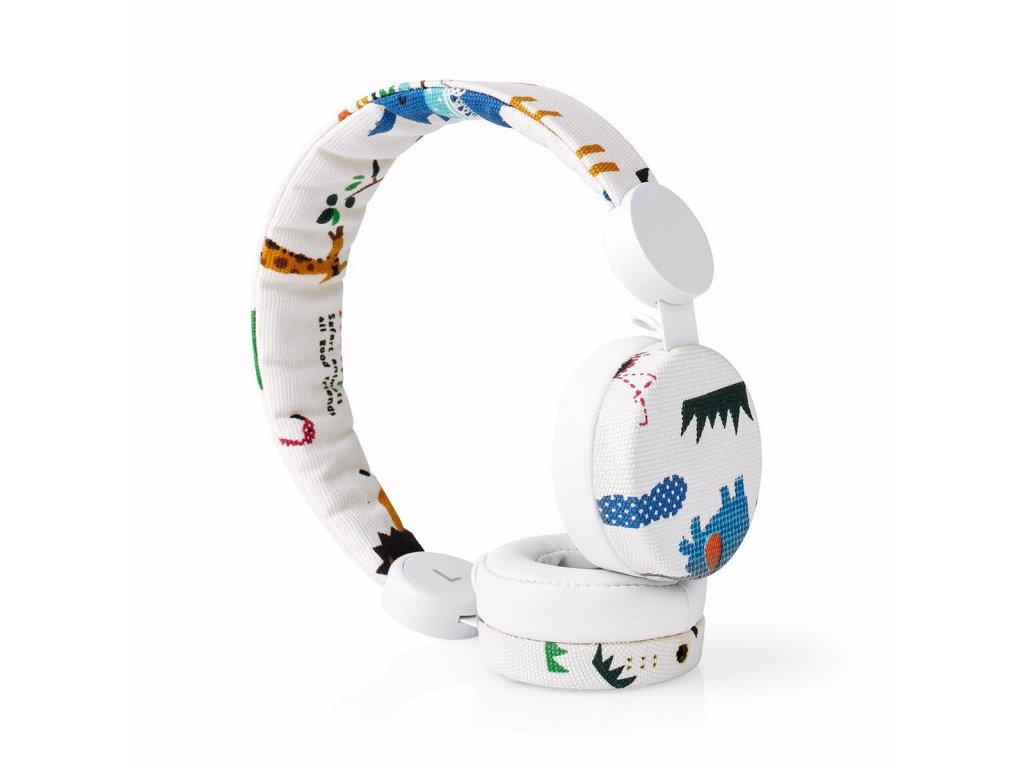 Nedis® N-imal uzavřená sluchátka s kabelem 1.2m, látkový povrch s dekorem safari (HPWD4104WT)
