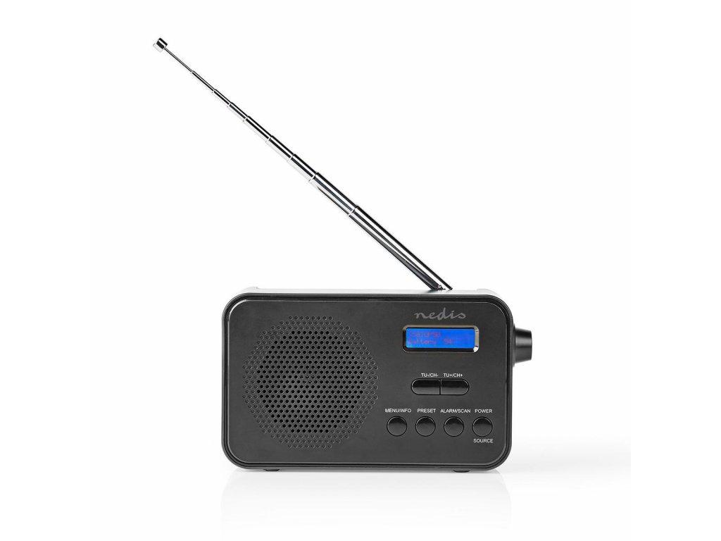 Nedis RDDB1000BK radiopřijímač DAB+ / FM, 3.6W, budík, 40 předvoleb