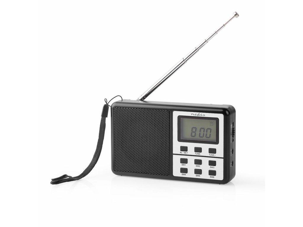 Nedis RDWR1100BK kapesní radiopřijímač FM/AM/SW 1.5 W, černá